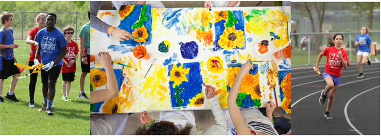 Collage of images - kids playign Flag foot ball, kids Painting sunflower pictures