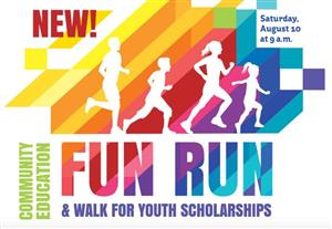 Rainbow Blocks Background with 4 white silouetted runners. Text NEw Com. Ed. Family Fun Run/walk for youth Scholarships 8/10